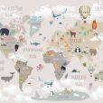 Детская карта мира (ширина: 4000 см, высота: 2800 см, количество полос: 4)